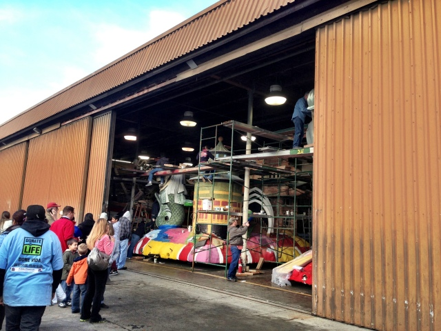 Rose Parade floats in the making at Rosemont Pavilion