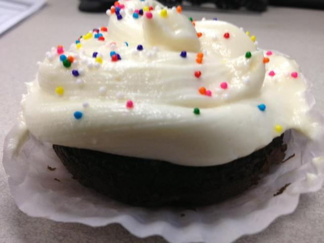 Vyvacious || Chocolate Shortie Cake Topped with Stabilized Whipped Cream Frosting and Sprinkles