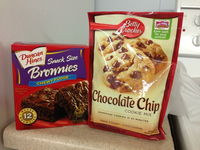 Brownie and cookie mix courtesy of Minnett